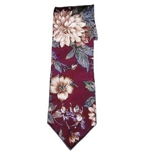 #927 harve benard Pure Silk Floral Neck Tie